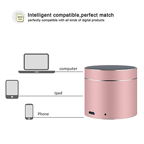 Bluetooth Speakers SEALVIA Wireless Speaker Mini size with Enhanced Bass and Noise-Cancelling Microphone for iPhone6/6S/7/7S android phone iPad Samsung Nexus HTC Laptops (more colors) KT8 (Rose Gold) by SEALVIA (Image #3)