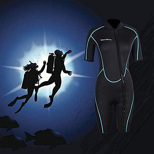 Mens 3mm Shorty Wetsuit Womens, Premium Neoprene Front Zip Short Sleeve Scuba Diving Wetsuit Snorkeling Surfing