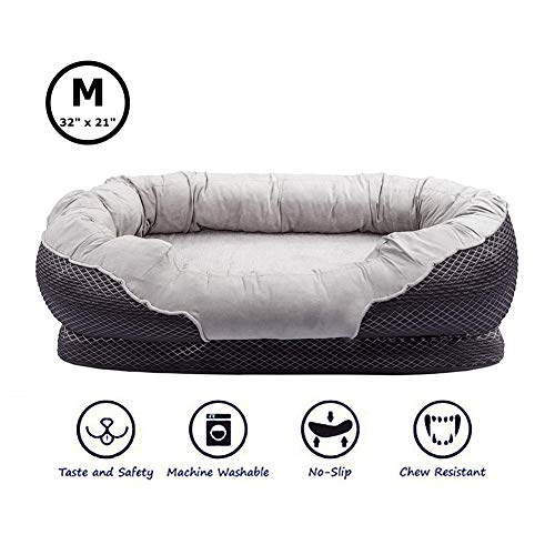 AsFrost Dog Beds with Padded Rim Cushion and Nonslip Bottom, Grooved Orthopedic Dog Beds Snuggly Sleeper with Grooved Orthopedic Foam -Grey (Medium- 32''x 21'') ()