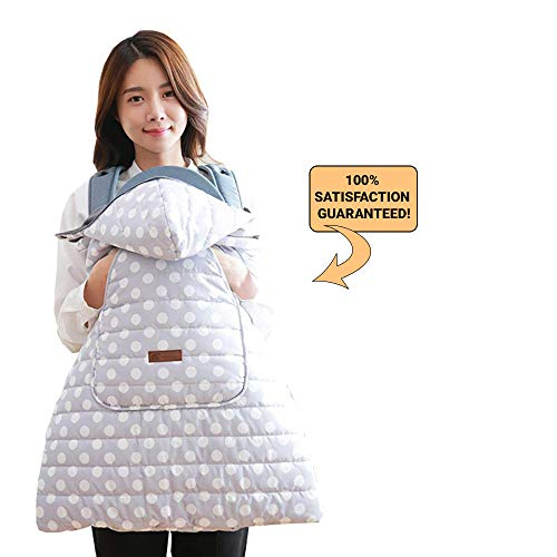 Agibaby Universal Hoodie Weatherproof Cover for Baby Carrier Warmer/Bunting / Stroller Footmuff - White Dottie