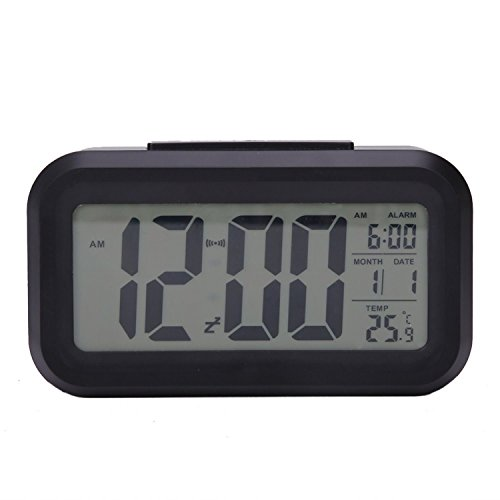 A Clockwork Orange Dim Costume (Led Desk Digital Clock Repeating Snooze Alarm Light-activated Sensor Table Backlight Time Date Temperature Display Calendar Thermometer Black)