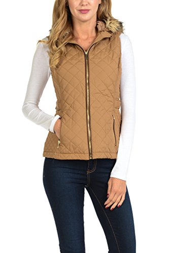 Faux Suede Hooded Coat - Auliné Collection Womens Quilted Zip Up Lightweight Padding Vest Fur Hood ZP Camel L