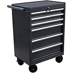 WEN 74606 26-Inch 6 Drawer Rolling Tool Cabinet, Silver/Black