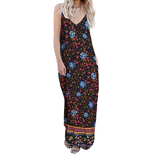 Dress Casual Sleeveless Summer Beach Maxi Long Dress Cocktail Flowers Printed V-Neck Camisole Colorful Maxi Dress Women (S,14- Dark -