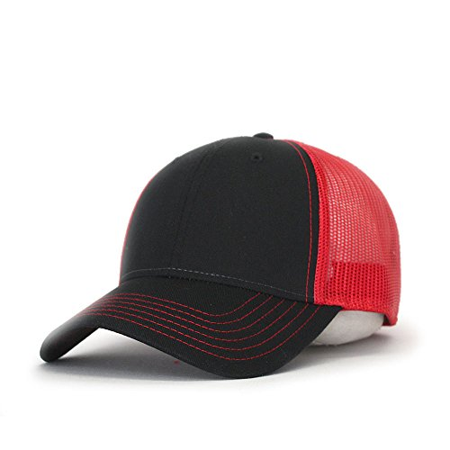 Vintage Year Plain Two Tone Cotton Twill Mesh Adjustable Trucker Baseball Cap (Black/Black/Red)