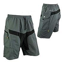 Outdoor Manager CA-Mens Mountain Loose-fit Biking Shorts Padded Coolmax Cycling MTB Shorts/Pant