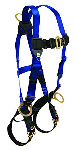 Chest D-rings - FallTech 7018 Contractor Full Body Harness with 3 D-Rings and Tongue Buckle Leg Straps, Universal Fit