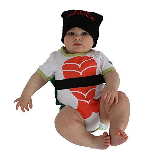 Sozo Baby Sushi Bodysuit & Cap Set, White/Orange/Black/Green, 3-6 Months]()