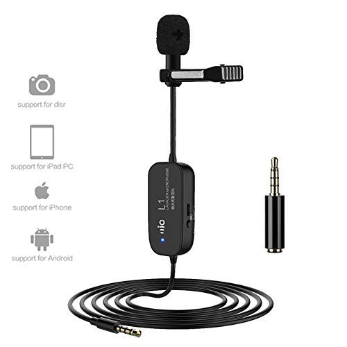 (Rechargeable Lapel Lavalier Microphone Professional Omnidirectional Condenser Mic Cable 20 Feet 6M Clip-on Speaker Compatible iPhone Samsung Camcorder DSLR Camera PC Youtube Live Streaming Recording)