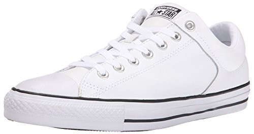 Converse Men's Street Leather Low Top Shoe, White/Black/White, 11.5 M US (White Shoes Converse All)