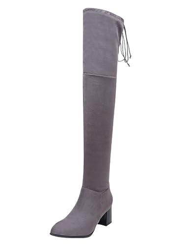 Minetom Damen Overknee Stiefel Wildleder Blockabsatz High Heels Winter Mode Casual Elegant Lange Boots Lace Up 34 45