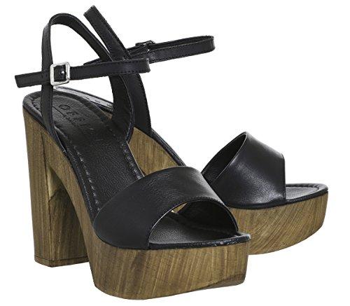Office Hawaii Wood Platform Sandals Black Leather Yx6Fa