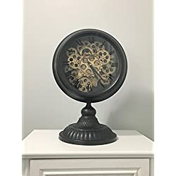 Shaba Designs Vintage Pocket Watch Style Table Clock - With Retro Distressed Iron and Artesian Pedestal with real Moving Gears (black)
