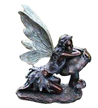 Fairy on Mushroom Bronze Finish 17