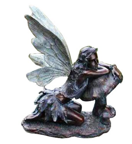 Large Resin Figurine (Fairy on Mushroom Bronze Finish 17