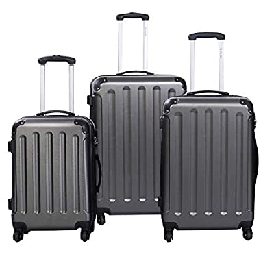 MD Group GLOBALWAY 3 pcs Luggage Trolley Case Set, Gray