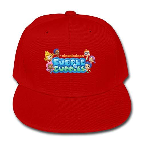 LWOSD Child Baseball Hat, Bubble Guppies Logo Plain Cotton Baseball Cap Sun Protect Ajustable Hats for Boys Girls Red
