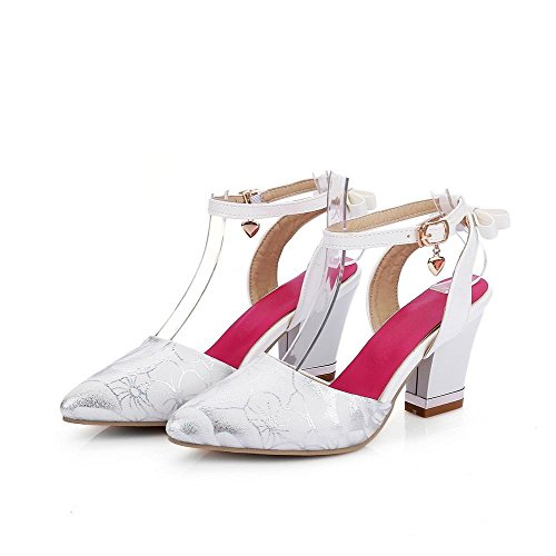 AllhqFashion Women's High Heels Assorted Color Buckle Patent Leather Closed Toe Sandals White qcZs8cCF6c