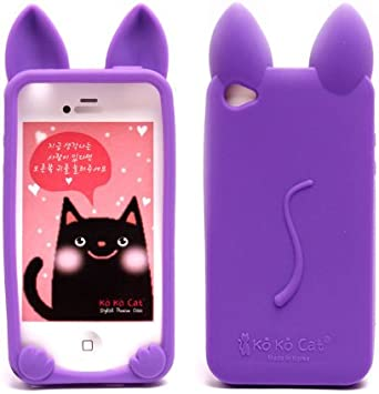 Coque iPhone 4 /4S Chat silicone violet: Amazon.fr: High-tech