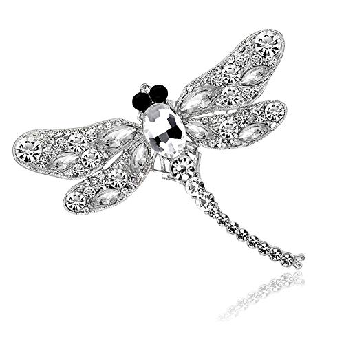 (AILUOR Multi-Colors Wing Dragonfly Brooch Pin, Austrian Crystal Rhinestone Dragonfly Necklace Women Jewelry Wedding Bouquet Brooch (White))