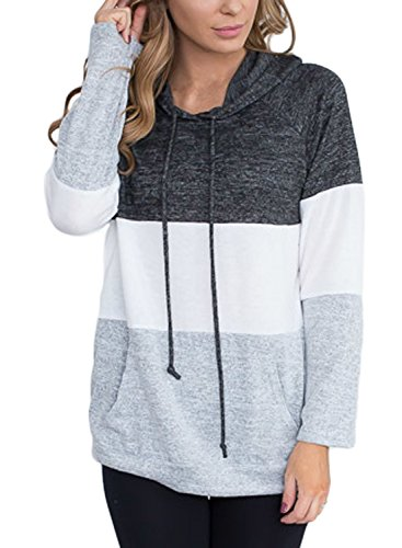 Lovezesent Women's Grey Color Block Loose Fit Cotton Pullover Hoodie Sweatshirts with Kangaroo Pocket Casual Drawstring Tunic Blouses for Jeans (Pockets Cotton Womens Hoodie)
