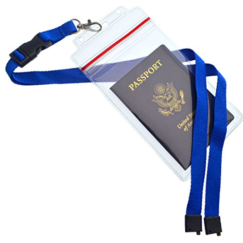Passport Holders - 2 Pack - Heavy Duty Water and Tear Resistant with Lanyard - 4X6 Insert is ideal for Cruise and Beach Vacation Documents (Royal Blue)