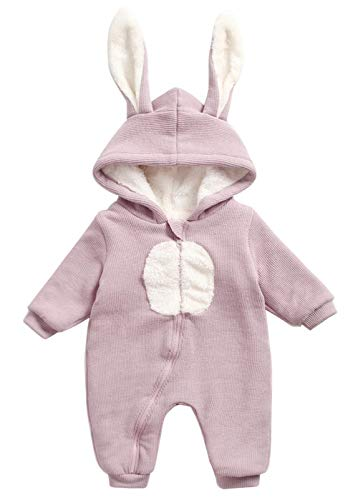 (Happy Cherry Toddler Kids Long Sleeve Outfit Rabbit Ear Hooded Romper Plushed Thicken Zip Up Warm Onesie Jumpsuit Pink 12-18m)