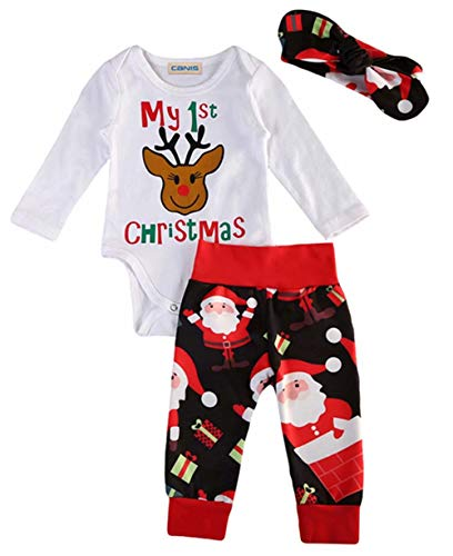 Newborn Baby Boys Girls My 1st Christmas Reindeer Romper+Santa Claus Pants+Headband 3Pcs Set Size 12-18Months/Tag100 (Red)