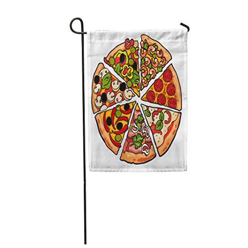 Semtomn Garden Flag Various Pizza Pieces Sketch Slices Freshly Baked 12