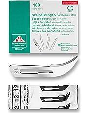 Hojas bisturi nº 12 - cuchillas escalpelo - bisturi quirurgico - recambio cuchillas - envase de abastecimiento con 100 cuchillas de repuesto