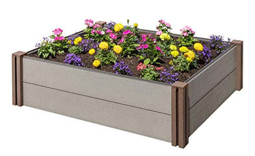 (Stratco Wood Plastic Composite Modular Raised Garden Bed - 48 (L) X 36(W) X 13 (H) - Beautiful Elevated Planter Kit Can Be Stacked for Custom Heights, No Tool Assembly)