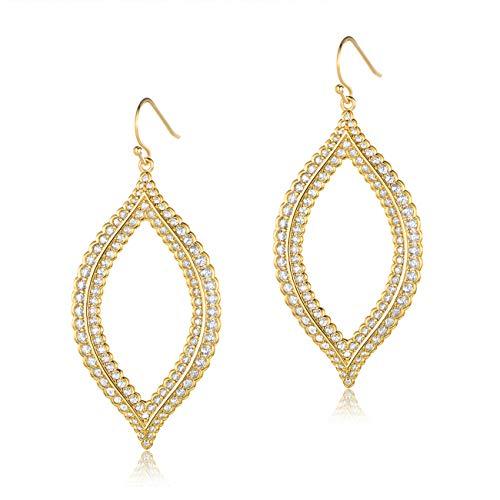 - MDFUN Dangle Earrings 14K Gold Plated Cubic Zirconia Lace Design Teardrop Fashion Jewelry for Women
