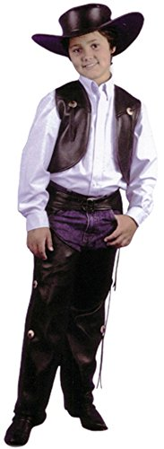 Child Black Cowboy Leather Chaps & Vest Costume, Size Youth Large (Child Cowboy Chaps)