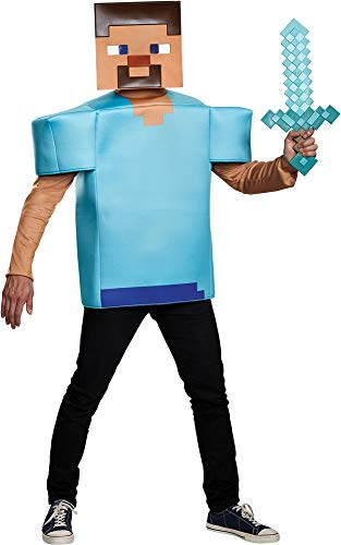 Disguise Men's Minecraft Steve Video Game Theme Party Outfit Halloween Costume, One Size