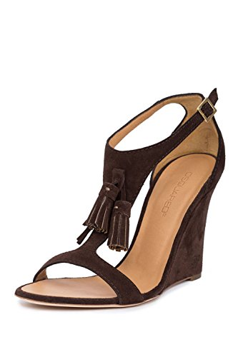 [Dsquared2 Women Brown Leather Ankle T-Strap Buckle Wedges Sandals Shoes US 8 IT 38] (Dsquared2 Womens Buckle)