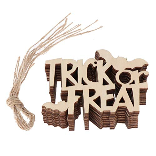 10pcs Halloween Wooden Tags Gift Tags Wood Slice Embellishments for Halloween Party Decoration - Trick or Treat ()