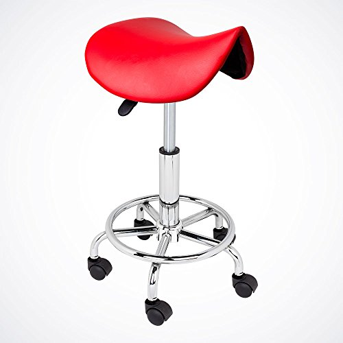 Price comparison product image GotHobby Red Salon Stool Saddle Chair Facial Tattoo Beauty Massage PU Leather Hydraulic