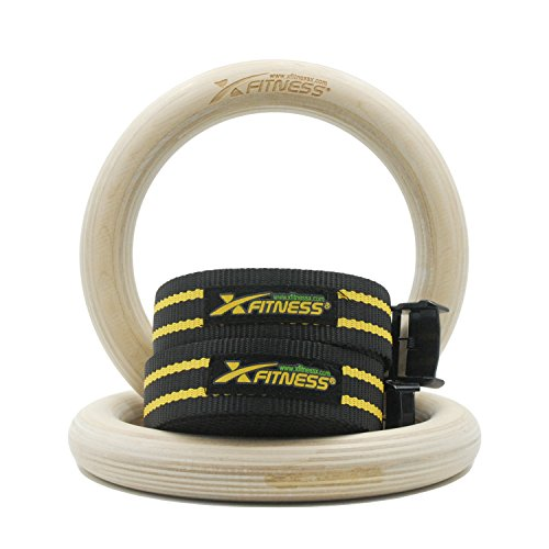 xFitness Wood Gymnastic Rings 9.25