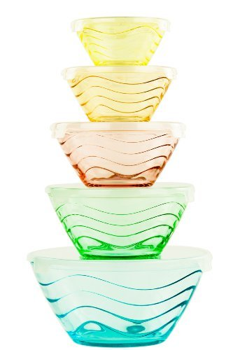 All Purpose Glass Bowl and Food Storage Containers 10 Pcs Set - Glass Lunch Bowls Set with Snap Tight Lids (Wave Design)