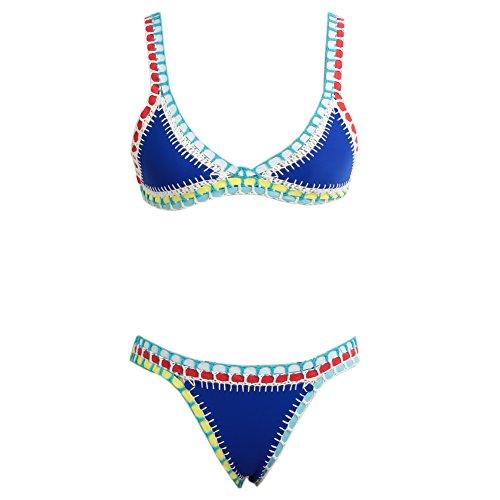 Romacci Women Bikini Set Sexy Swimsuit Push up Padded Bathing Suit Low Waist Swimwear One Size,Yellow/Blue