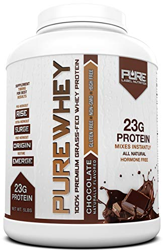 Grass Fed Whey Protein - 5lb Chocolate - 100% Natural, Cold Processed Undenatured Whey w/No Sweeteners or Added Sugars - rBGH Free + GMO-Free + Gluten Free + Preservative Free - Pure Whey