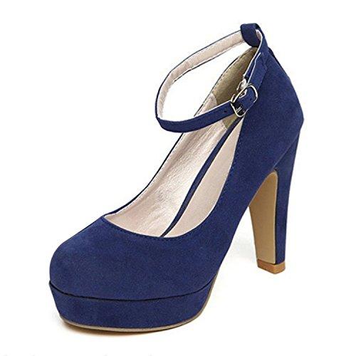 TOOGOO (R) Mujer del tacon alto de la plataforma del estilete con la correa del tobillo de la hebilla zapatos de tacon alto de imitacion gamuza Azul - 36