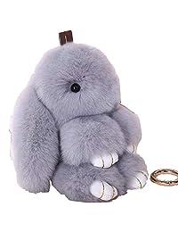 Bunny Doll Keychain Soft Cute Rex Rabbit Fur Pom Pom Fluffy Plush Pendant Key chain Car Handbag Keyring Womens Gril Charms