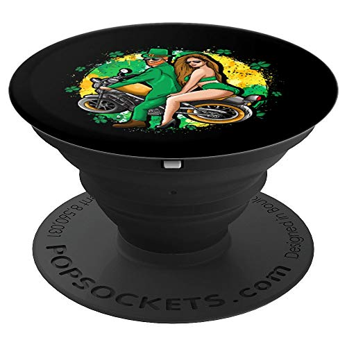 Irish Motorcycle Biker Couple Gift St Patrick Men Women Hot - PopSockets Grip and Stand for Phones and Tablets -