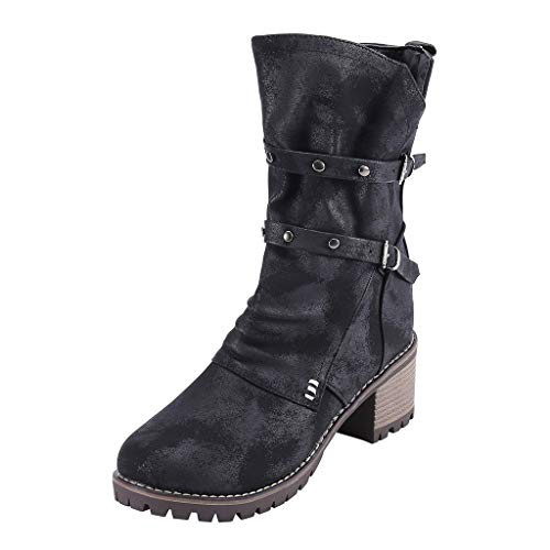 Cenglings Women Mid-Calf Army Boots,Round Toe Belt Buckle Low Chunky Heel Zipper Knight Boot Knee High Boots Black