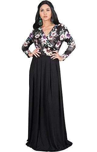 KOH KOH Womens Long Sleeve Fall Winter V-Neck Sexy Floral Print Wedding Guest Formal Cocktail Evening Floor Length Gown Gowns Maxi Dress Dresses with Sleeves, Black M 8-10