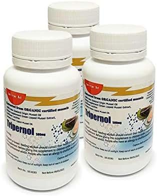 TRIPERNOL 3 PACK - Three 60 count bottles (180 soft gels) - Green Lipped Mussel Oil - EPA & DHA Omega 3 & Phospholipids by Bio-Mer Ltd.