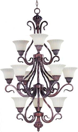 Maxim Lighting 2778SVGB Chandelier with Soft Vanilla Glass Shades, Greek Bronze