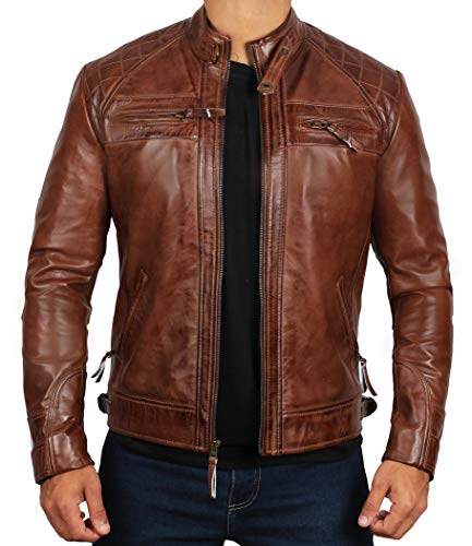 Blingsoul Genuine Lambskin Men Leather Jackets for Adult | [1100085] Johnson Real Brown, XL