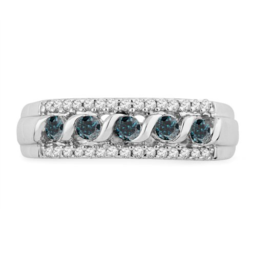 Sterling Silver Blue And White Round Diamond Anniversary Ring (1/2 cttw)